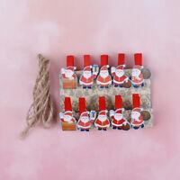 10 Pcs/lot Mini Wooden Paper Clips Photo Pegs Santa Claus Wood Paper Clips XR