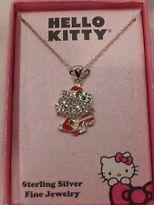 Hello Kitty Sterling Silver Swarovski Paved Crystal Santa Necklace NIB $150 SALE