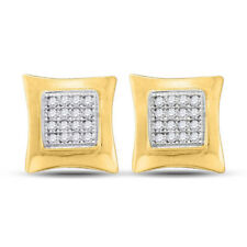 10kt Yellow Gold Womens Round Diamond Kite Square Earrings 1/10 Cttw