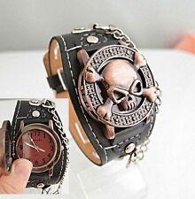 Unisex Totenkopf Skull Biker Punk Gothic Uhr Quarzuhr Armbanduhr Zuklappbar