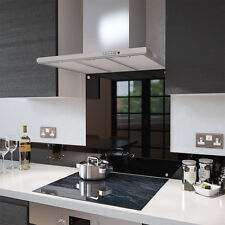 Black - 100cm x 70cm Glass Splashback with Fixing Holes