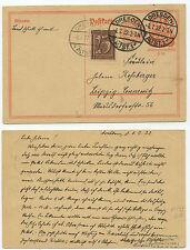16139 - Ganzsache P 153 - INFLA-geprüft -Dresden 8.7.1922 nach Leipzig-Connewitz
