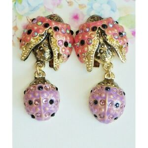 Kirks Folly Lovely Ladybug Pierced Earrings Pink & Lavender with Crystals