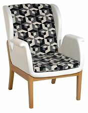 New Modern Contemporary fabric upholstery Relax accent chair in Black & White