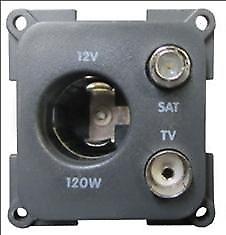 Trigano Caravan & Motorhome 12V, TV & Satellite Socket in Grey - Part no.270232B
