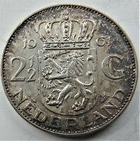 1961 NETHERLANDS Juliana, Silver 2-1/2 Gulden grading VERY FINE or better.
