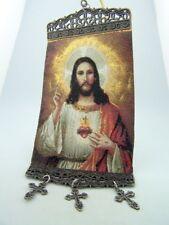 Tapestry Sacred Heart Icon REligious Banner Textile Art