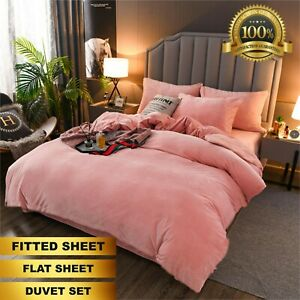 New Thermal Flannelette 100% Brushed Cotton Sheets Fitted Flat Sheet Duvet Set