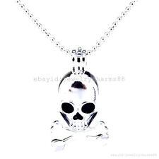 L214 Bright Silver Skull Bone Cross Locket Pendant Necklace Bead Cage Diffuser