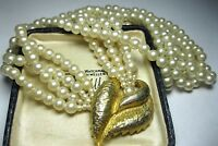 Pretty VINTAGE 4 Row Pearl BEAD Central Leaf Clasp Costume Jewellery NECKLACE