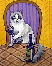Rag Doll Cat at the wine bar art print artwork gift gifts 11x14 modern