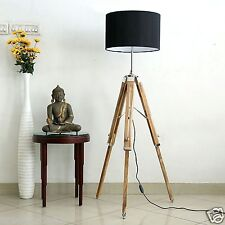 NAUTICAL WOODEN NAUTICAL  LIGHTING FLOOR LAMP TRIPOD  WOODEN  HOME DECOR#.