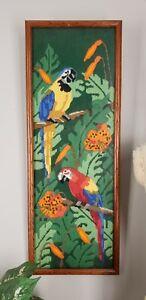Vintage Needlework Macaw Parrots Floral VIBRANT Jungle Framed Panel Tropical Art