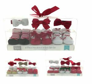 Hudson Baby Infant Girl 6 Piece Headband and Sock Set Size 0 - 9 Months