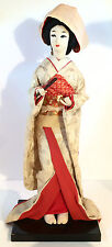 Wedding Doll, Nishi, Stunning Detail on Kimono and Hat, holding fan, 1950's