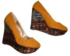 QUPID Mustard Yellow Black Pink Blue Southwest Aztec Faux Suede Heels Wedges 8