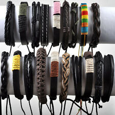 10pcs Mens Surfer Cuff Wholesale Lots Ethnic Tribal Genuine Leather Bracelet Hot
