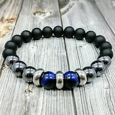 "8""L STAINLESS STEEL 10mm Blue Tigers Eye+Onyx+Hematite Gemstone Beaded Bracelet"