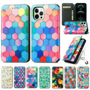 For iPhone 13 12 11 Pro Max XR 7 8 Magnetic Case Leather Flip Wallet Cards Cover