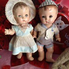 Effanbee 13 inch Candy Kids Twin Toddler Dolls, c1946; All Composition Bodies