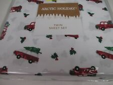 ARCTIC HOLIDAY White Red Green Christmas Tree Truck Car Sheet Set - Twin