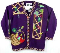 storybook knits womens medium vintage apple garden sweater rare cardigan