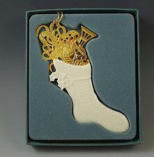 Lenox Made In Usa Gold Stocking Ornament Bone China Boxed