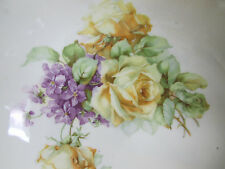 German Serving Fruit Salad Bowl Yellow Roses Purple Flower Opalescent Gorgeous