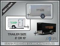 Custom Trailer Vinyl Signs Lettering Company Decals 2 Sides & 1 Back 1 Color