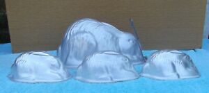 1 Large Rabbit Jelly Mould and 3 Small Rabbit Moulds Aluminium Swan Brand