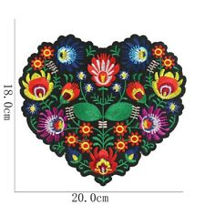 Large Flower Heart Patch Sew or Iron on Embroidered Retro Applique 18 x 20 cm UK
