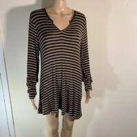 Cabi Women's Slant Tee #3629 Long Sleeve Jersey Tunic Striped Brown Black M