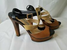 Jimmy Choo 39 9 Sandals Strappy Platform Heels High EUC