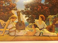 Art Nouveau Fantasy View Girls In Togas Music Old Poster Maxfield Parrish