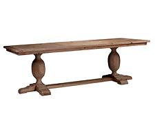 Large Farmhouse Reclaimed Rustic Refectory Weathered Pine Pedestal Dining Table