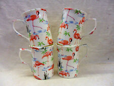 Set of 4 bone china flamingo design mugs