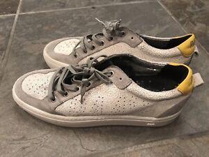 P448 Men's Snake Embossed Low Top Sneakers Sz 42 Yellow White Grey US Sz 9 Italy