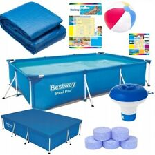 12in1 BestWay SWIMMING POOL 259x170 + Cover Rectangular Garden Above Ground Pool