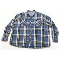 North River Plaid Two Pocket Dress Shirt Long Sleeve XXL Cotton White Blue Mans