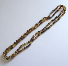 """Agate Necklace--round beads -brown & yellow shades  -60"""" long"""