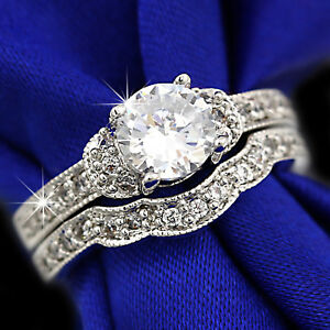 9K WHITE GOLD GF LUXURY 1CT LAB DIAMOND VINTAGE WEDDING ENGAGEMENT LADY RING SET