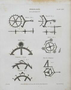 1813 Horology Escapements Mudge's Duplex Robin's etc. Print Engraving Rees