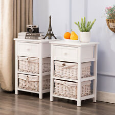 Set Of 2 White Nightstand End Table Bedside With Wicker Storage Wood