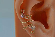 Handmade Gold Filled Ear Cuff April Birthstone AB Crystal