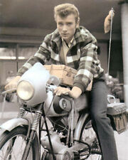 "JOHNNY HALLYDAY on MOTORCYCLE FRENCH SINGER ACTOR 8x10"" HAND COLOR TINTED PHOTO"