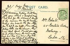 Islas del Canal Jersey 1909 PPC a Londres bien samares Matasellos Cancelar