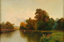 Oil painting Idyllic summer landscape with ducks on lake & church on canvas