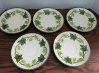 """Set of 5 Vintage FRANCISCAN IVY 6"""" Saucers - Made in California"""