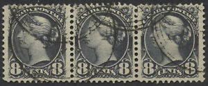 Canada #44 8c Small Queen Strip of 3, Light Toronto 3-Ring Orb JAN 12 98