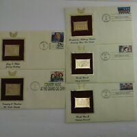 (5) 22k GOLD Replica First Day Of Issue USPS COMMEMORATIVE STAMPS LOT  (1B3)